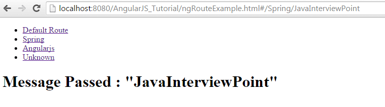 AngularJS routeParams Example