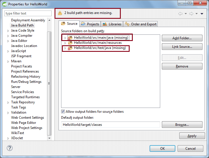 Fix missing src/main/java folder in Eclipse Maven Project
