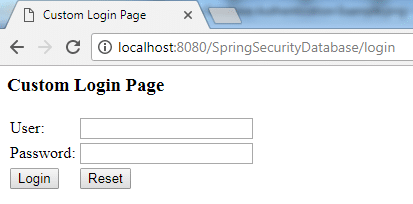 Spring Security Database Authentication Example 1