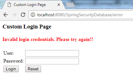 Spring Security Database Authentication Example 3