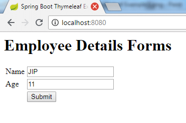 Spring Boot Thymeleaf Example 1