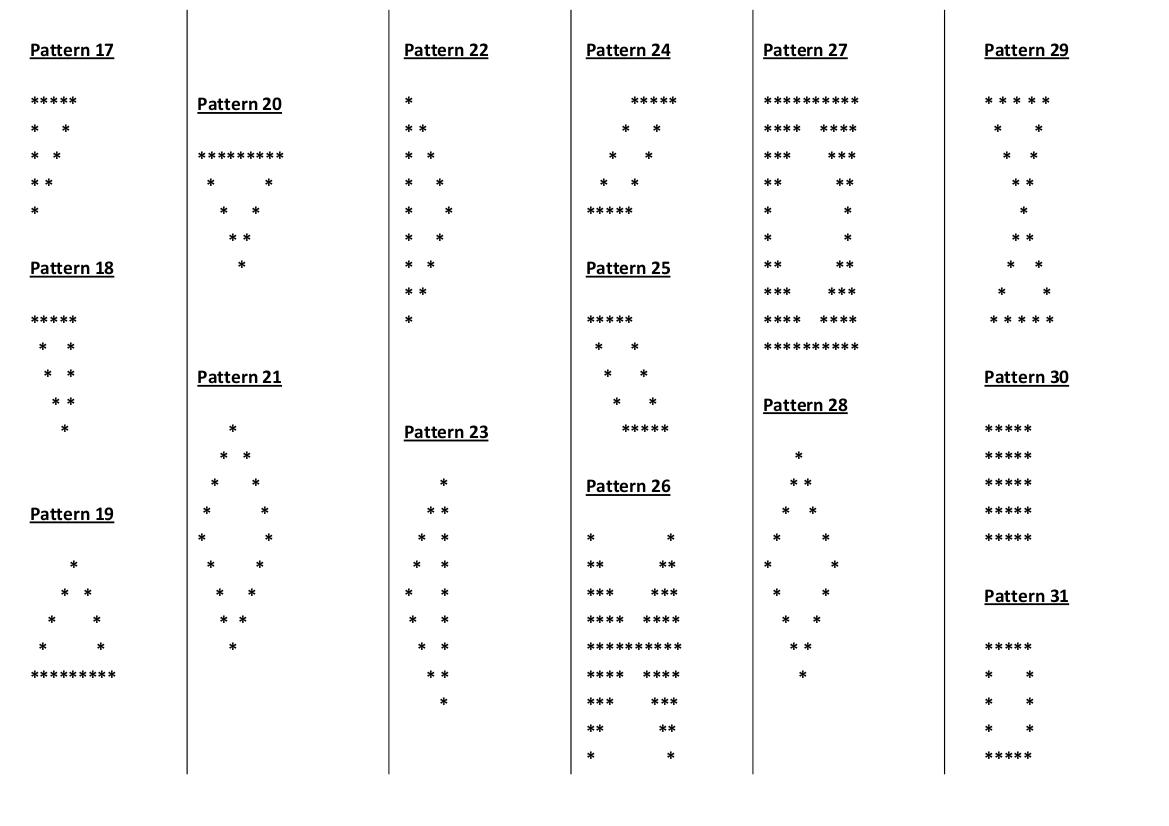 35 Star Pattern Programs In Java | Pattern Program