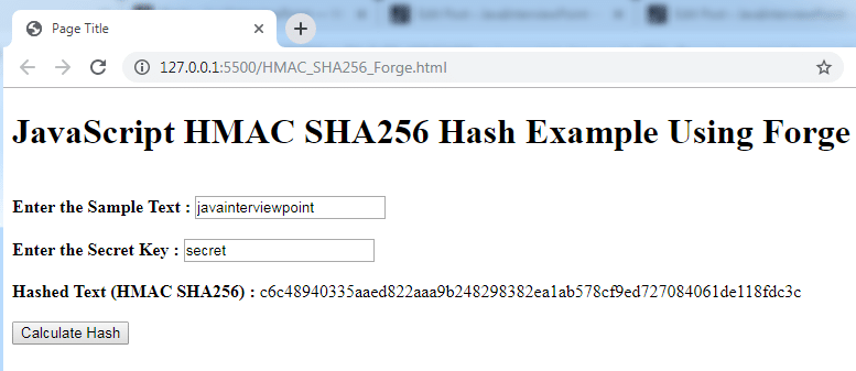 JavaScript HMAC SHA256 Hash Example using Forge & CryptoJS